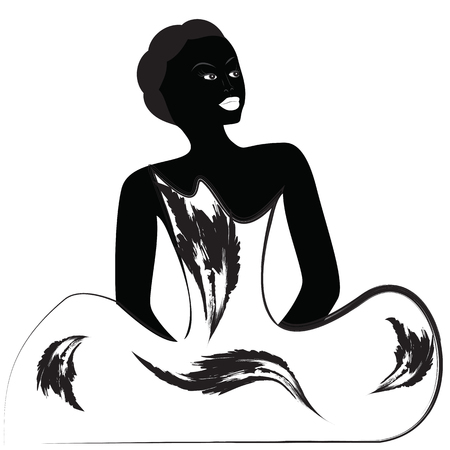 blackandwhite: woman black abstract illustration isolated white background inscription lovely black-and-white Illustration