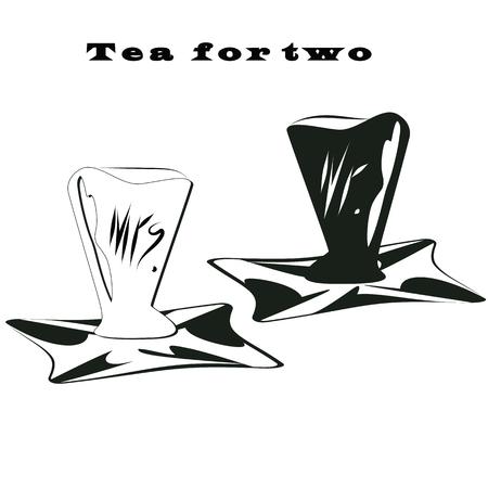 señora: té de la taza par de letras en blanco y negro en una bandeja de té para la muestra de dos manos señor y la señora Vectores