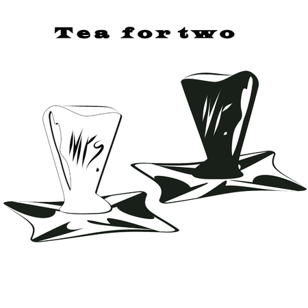 hot couple: tea couple cup black and white lettering on a tray tea for two hand sign Mr. and Mrs.