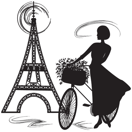 parisian: black silhouette of a Parisian woman bike basket of flowers Eiffel tower white background