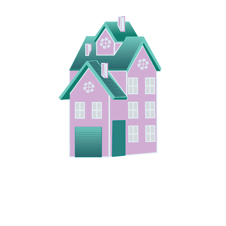mansard: house with a mansard roof decorative yard art chimney abstract creative illustration of an isolated white background