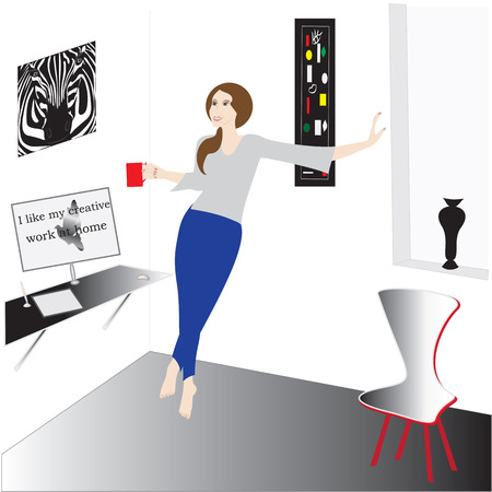 computer chair: Woman with a mug in his hands in the room table vase window painting abstract computer chair inscription I like my creative work at home illustration
