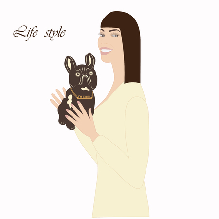 life style: smiling woman holding a dog in her arms an inscription life style illustration of a light background