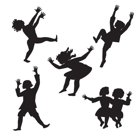 girls having fun: children dancing black and white silhouette isolated abstract illustration on a white background