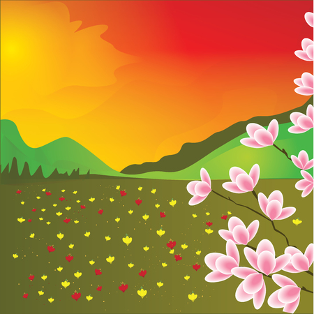 red sky: Landscape wildflowers sun red sky clouds hills branches with flowers abstract art illustration creative modern bright background Illustration