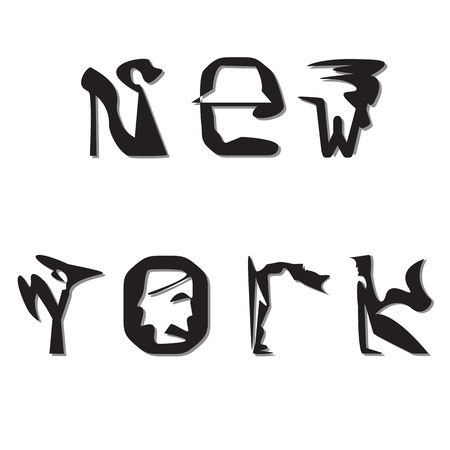 the attribute: of curly black and white letters of the inscription New York isolated on white background Illustration