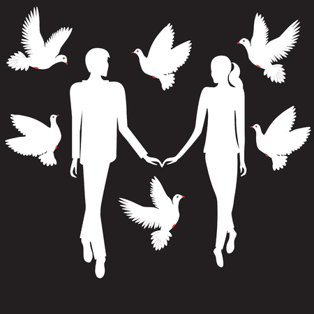 hovering: white silhouette of a boy loving a girl hold hands is surrounded doves hovering illustration for the holiday Valentines Day birthday wedding black background