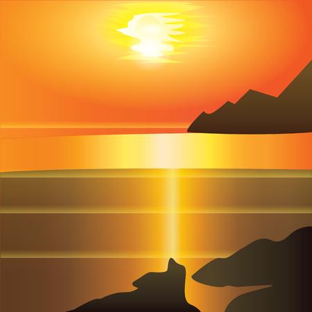 cliffs: landscape sunset red - yellow background cliffs sea reflection Modern art creative illustration Illustration