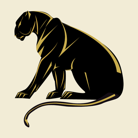 Panther Art abstract illustration isolated on white background