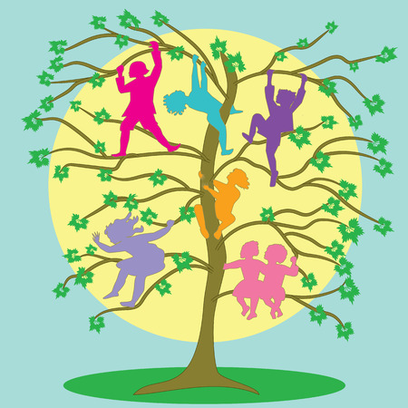 pranks: children climb on the branches of a tree spring background multicolored abstract drawing