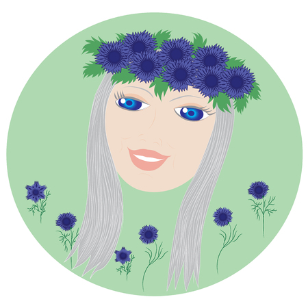 wildflowers: face blonde girl with blue eyes wearing a wreath of wildflowers cornflowers isolated spring background Illustration