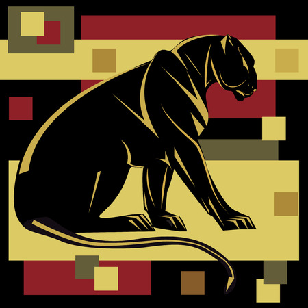mountain lion: Panther decorative art abstract illustration isolated black background Illustration