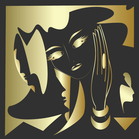 abstract art illustration black and gold face masks