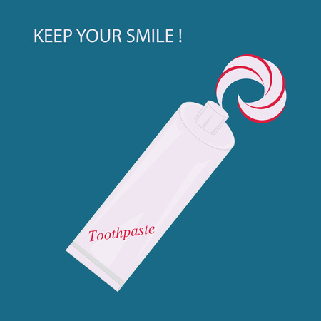 perfumery concept: toothpaste bright graphic isolated modern creative art illustration inscription Keep your smile blue background