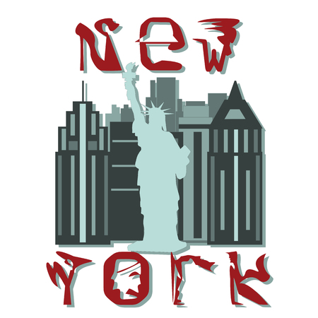 ny: decorative letters NY Statue of Liberty isolated abstract drawing white background