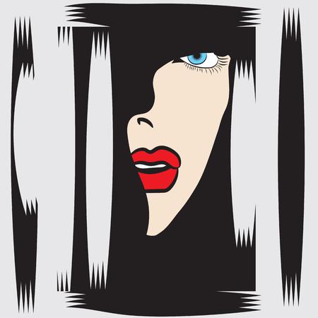 Frau das Gesicht im Profil blauen Augen roten Lippen abstrakte Darstellung isoliert schwarz - weißen Hintergrund