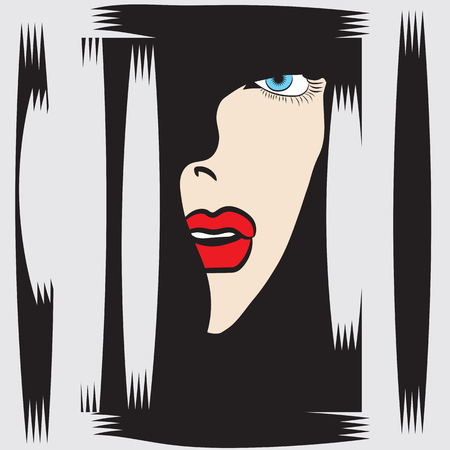 mystique: womans face in profile blue eyes red lips abstract illustration isolated black - white background