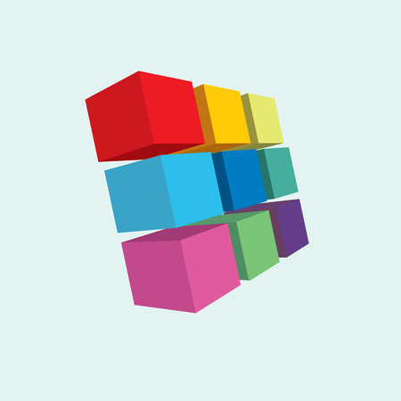 3 d: cubes colorful design art squares isolated light background  3 d Illustration
