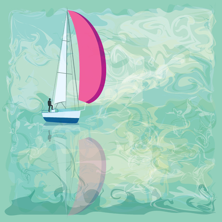 yachtsman: People on a boat with a pink sail symbolic sky sea waves abstract art creative modern illustration of a light background bitmap image Illustration
