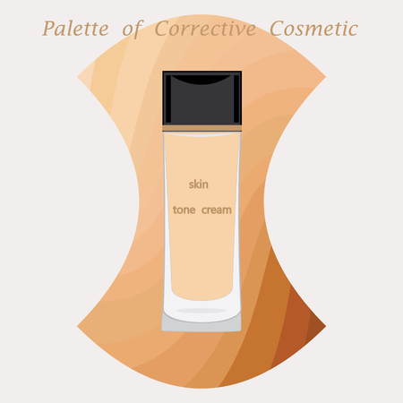light skin: bottle and the original pallet foundation for skin isolated modern creative art illustration light background for cosmetic shop of salon Illustration