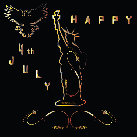 july 4: Statue of Liberty silhouette eagle ornament inscription Happy July 4 th art abstract creative illustration of a black background