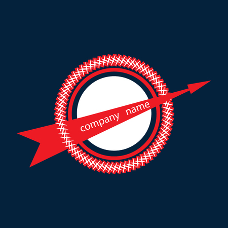 pierced: circle pierced by an arrow, color: red-white isolated abstract modern creative design element blue background