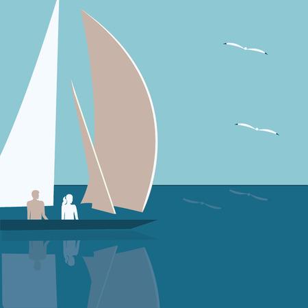 gulls: seascape yacht male and female sea gulls abstract art illustration minimalism flat style light blue background