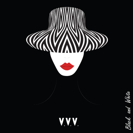 panama hat: woman in a hat with a geometric pattern red lips inscription black and white art abstract modern illustration black background
