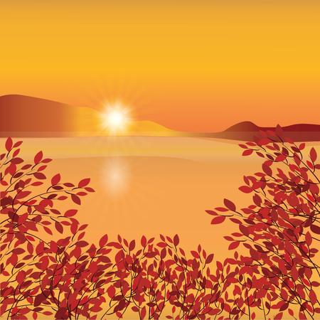 mountain sunset: Autumn landscape horizon mountain sunset water branch red leaves abstract art creative modern illustration bright background