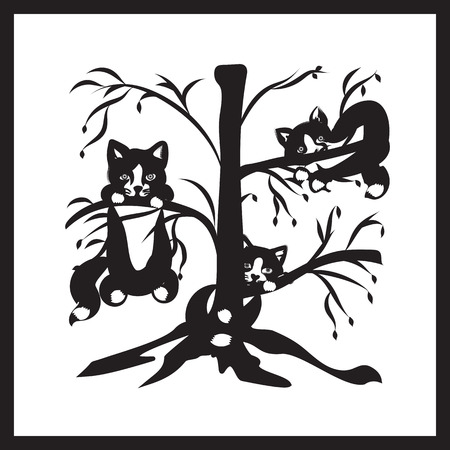 cowardly: three cats sitting on the branches of a tree symbol of spring black and white illustration Illustration