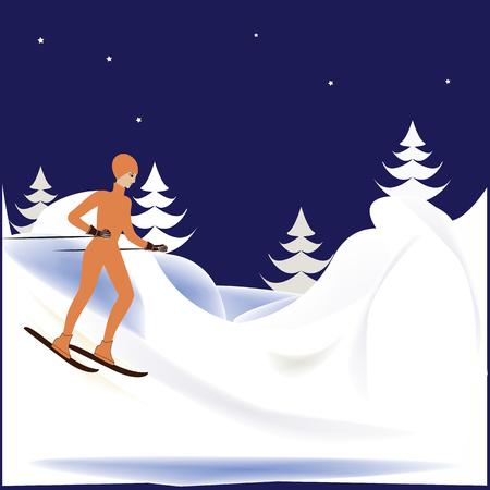 mountain snow: woman on skis mountain snow  trees winter   background art illustration