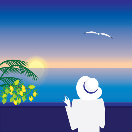 Sea landscape at sunset woman in a white hat on a mooring branches lemons palm seagull abstract art illustration modern minimalism flat style
