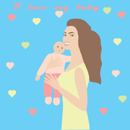 babysitter: A woman with a small child in her arms Bright gentle background with hearts inscription I love my baby