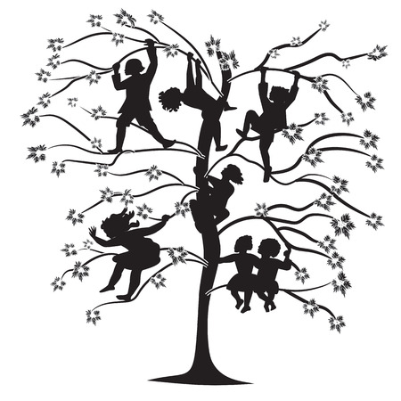 leprosy: black and white silhouettes of children on the branches of trees in spring and summer abstract illustration isolated on white background Illustration