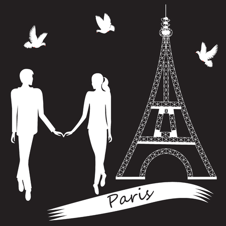hovering: black and white Paris Eiffel Tower white silhouette of a boy and girl hold hands doves hovering illustration for the holiday Valentines Day birthday wedding trip vacation black background Illustration