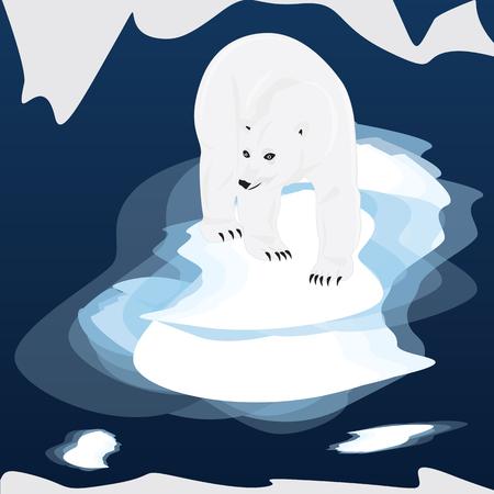 floe: White bear on an ice floe art abstract modern creative illustration blue background