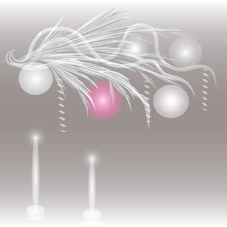 branch Christmas balls Two candles translucent gray gradient background abstract art creative modern Christmas New Year