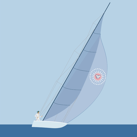 yachtsman: Sail yacht man sea sky abstract art creative modern minimalism flat style illustration blue background