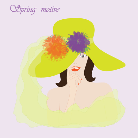 careless: spring motive girl in the hat with flowers on a light background Some items are made in the style of a careless handmade technique