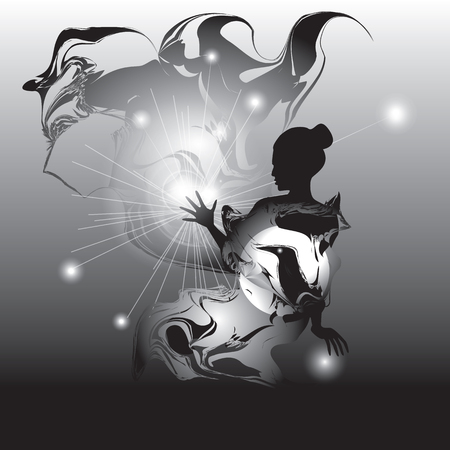 enchantment: woman art abstract black and white  illustration star mystic spiritualism witchcraft magic enchantment