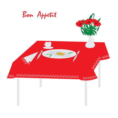 sunny side up eggs: breakfast table tablecloth dish scrambled egg fork knife napkin coffee cup vase bouquet of poppies inscription bon appetit white background abstract illustration Illustration