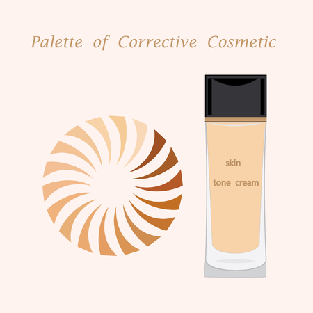 perfumery concept: bottle and a round pallet foundation for skin isolated modern creative art illustration light background for cosmetic shop of salon Illustration