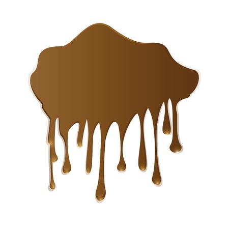 dripping chocolate: milk chocolate splash dripping brown isolated art creative modern illustration white background element for design Illustration