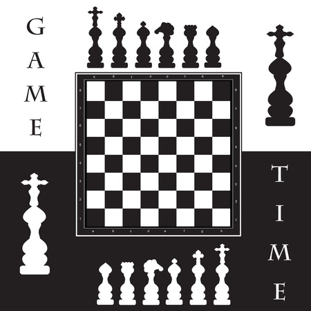 game time: set of chess board and figures in black and white abstract illustration background white label game time Illustration