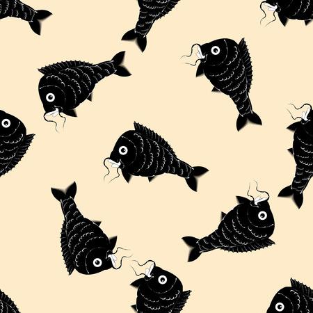 crucian: fish carp black and white abstract modern art creative pattern light background