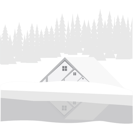 color reflection: winter background house river reflection pine forest of white-gray color art modern abstract illustration Illustration
