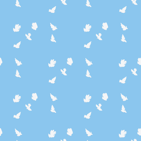soaring: Doves soaring romantic soft spring summer blue background pattern