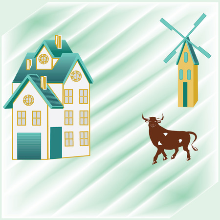 abstract mill: landscape farm field mill bull house with penthouse on the chimney on the roof of the creative abstract art illustration background light gentle