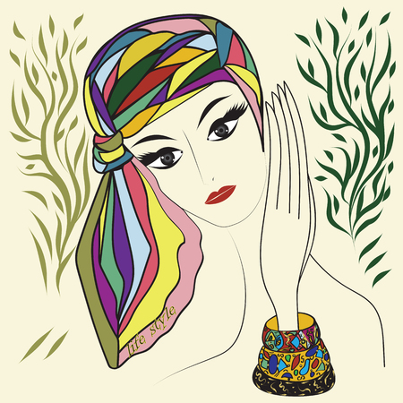 head scarf: woman in a head scarf multi-colored bracelets bright stylized hand drawing on an isolated white background
