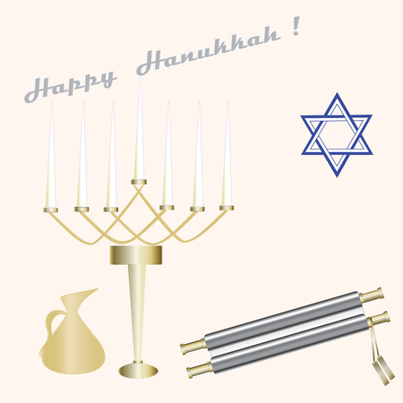 pitcher: menorah seven candles blue Star of David scroll pitcher  sign Happy Hanukkah light background